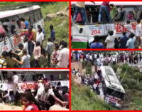 Bus falls into gorge in Telangana, India