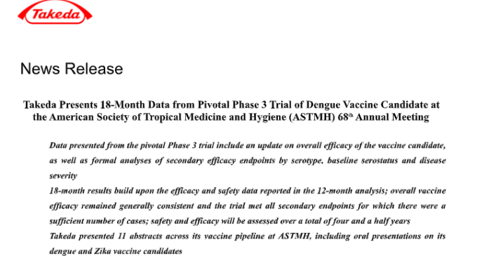 Phase 3 Trial of Dengue Vaccine Candidate at the American Society of Tropical Medicine and Hygiene (ASTMH)