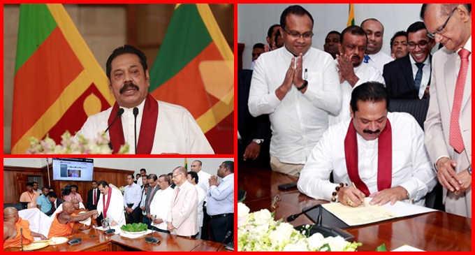 Premier Rajapaksa assumes duties as Finance Minister