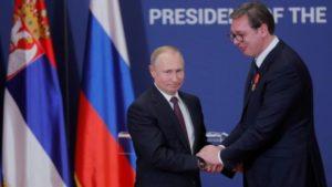 Vladimir Putin, left, and Alexandar Vucic have a good relationship